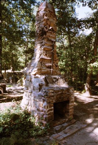 The chimney - all that remained from the original hut. Photo: Anthony Taranto.  (t0033)