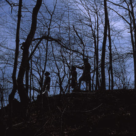 Re-enactors portray Zebulon Pike and his party at Bald Eagle Point in Greenbrook Sanctuary, near the summit of the Huyler Road, circa 1982.