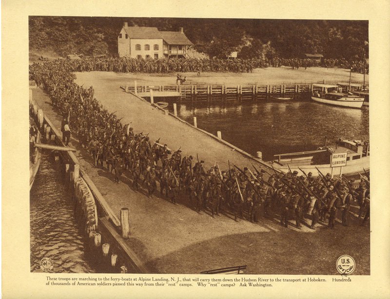 Troops from Camp Merritt marching to Alpine Landing (Kearney House in background). (s3280)
